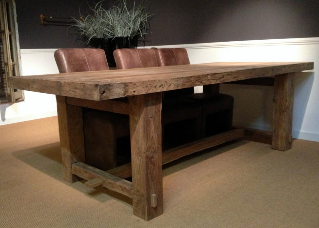 zeer fraaie zware teakhouten tafel tafel van teak hout eetkamertafel antieke tafels tafels van oud hout landelijke tafels de jong interieur