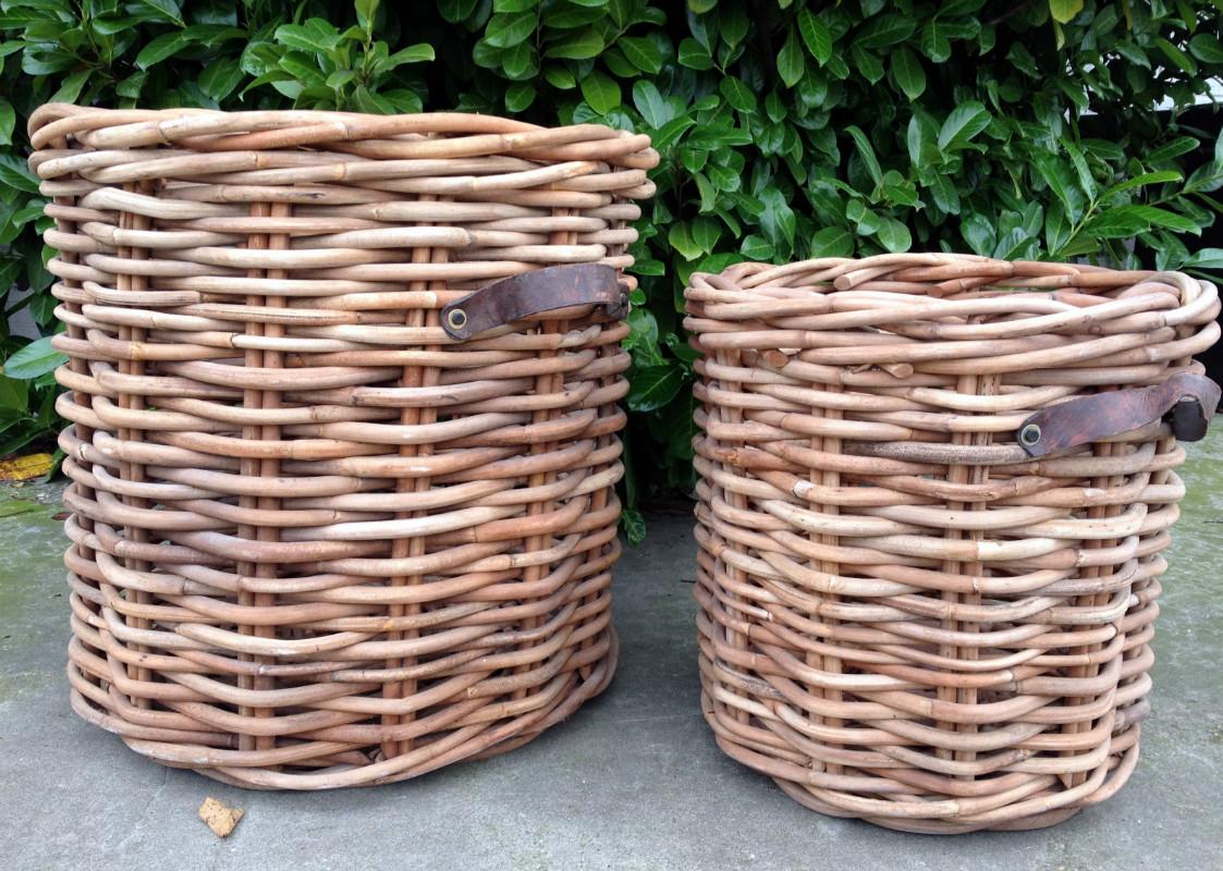 Set van 2 decoratieve rieten manden  Ruige rieten manden   Decoratie artikelen  landelijke