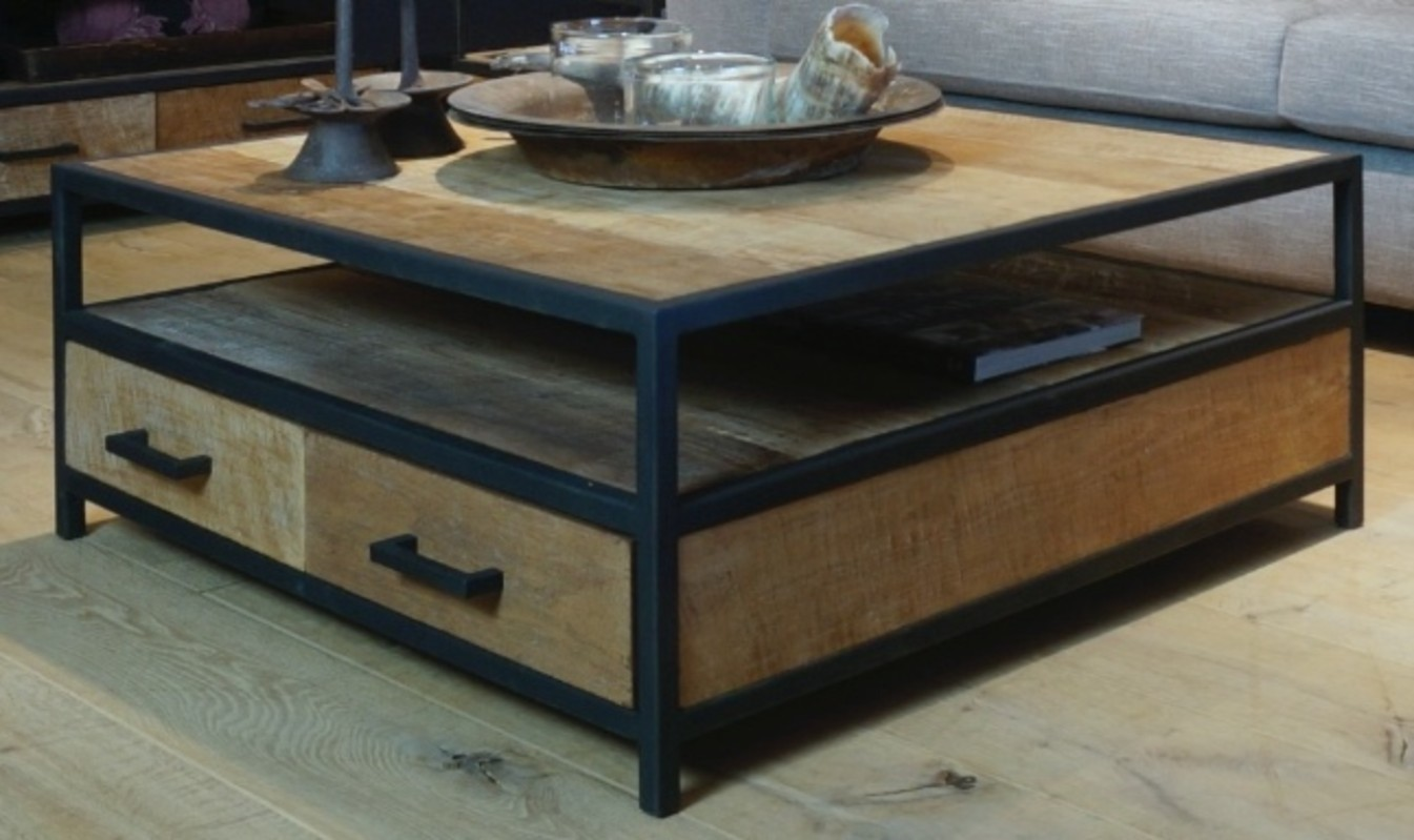- ST 128, Coffee Table - Wood/Iron Collection - De Jong Interieur