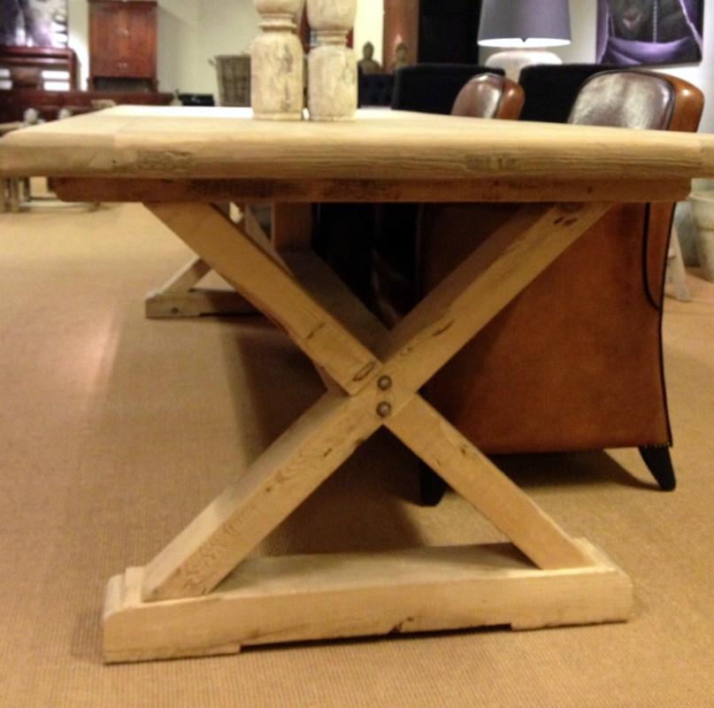 Landelijke cross poot tafel houten tafel oud eetkamertafel antieke tafels tafels van oud - Tafel woonkamer van de wereld ...