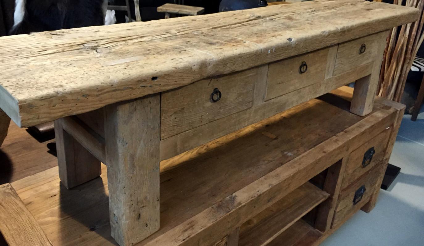 Tv dressoir gemaakt van oud hout landelijke meubels for Houten meubels