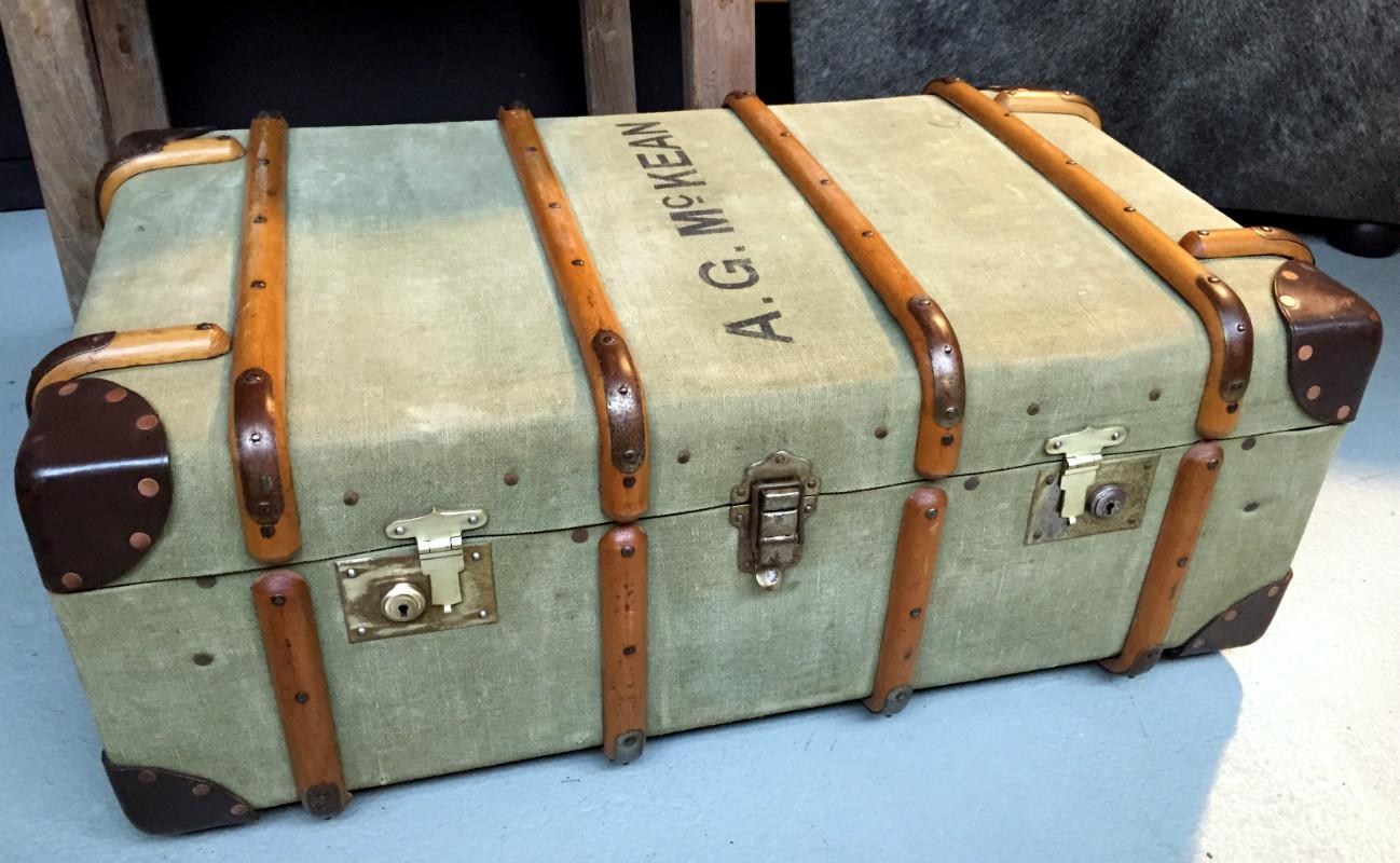 antiker koffer leinwand koffer vintage leinwand koffer koffer antike koffer alte koffer. Black Bedroom Furniture Sets. Home Design Ideas