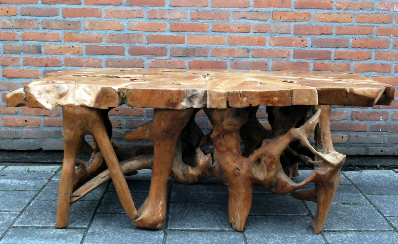 unieke tafel van wortelhout eetkamertafel antieke